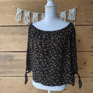Madewell Floral Print Off Shoulder Blouse Size M
